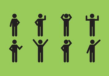 Male Stick Figure Icon Set - Free vector #158311