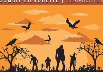 Zombie Silhouette Composition Vector Free - Free vector #158471