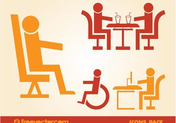 Sitting People Icons - vector gratuit #158641