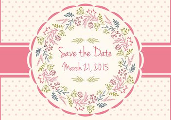 Save The Date Floral Card - vector gratuit #159391