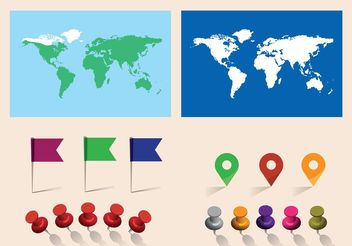 Free Vector World Map With Pins - Kostenloses vector #159551