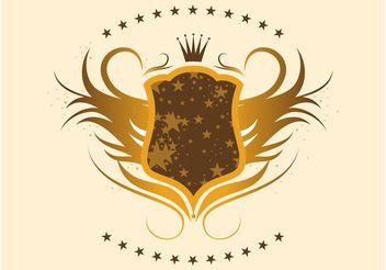 Gold Shield with Stars - Free vector #160051