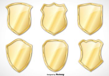 Gold Vector Shield Set - vector #160151 gratis