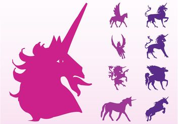 Unicorns And Horses Silhouettes - Free vector #160191