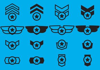 Winged Military Badge Vectors - бесплатный vector #160631