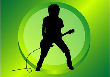 Guitar Player Silhouette - vector gratuit #161011