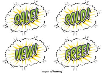 Comic Style Sale Labels - vector #161091 gratis