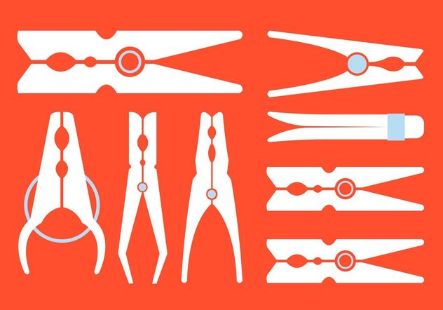 Vector Set of Various Clotehspins - Free vector #161111