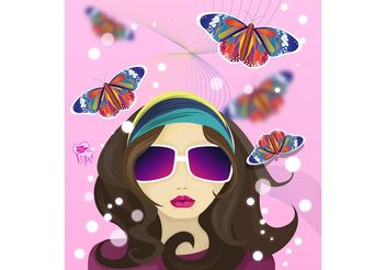 Hippie Girl - Free vector #161231