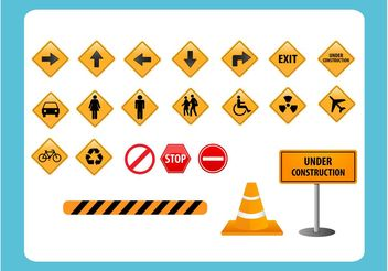 Road Direction Sign Vectors - Free vector #161761