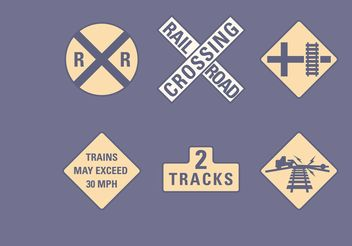 Vector Railroad Road Signs Set - vector gratuit #161831