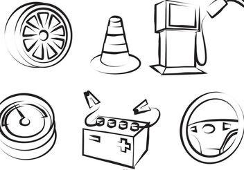 Car Service Outline Icons Vector - vector gratuit #161841