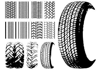 Tires And Tire Prints - vector gratuit #161941