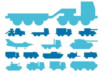 Military Vehicles Silhouettes Graphics - vector gratuit #162311