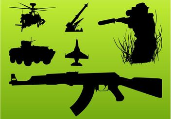 Military Silhouettes Set - vector gratuit #162361