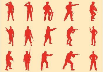 Soldiers Silhouettes Set - бесплатный vector #162441