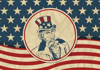 Free USA Vector Retro Background With Uncle Sam - vector gratuit #162531