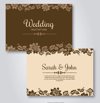 Wedding Floral Template Invitations - vector #162681 gratis