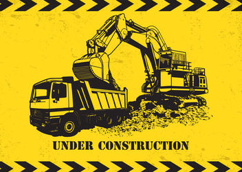 Dump Truck Excavator under Construction - vector gratuit #162891