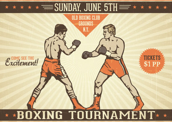 Sketchy Vintage Boxing Poster - Free vector #163001
