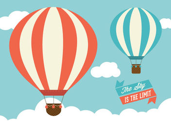 Vintage Air Balloons Sky Ribbons - Free vector #163031