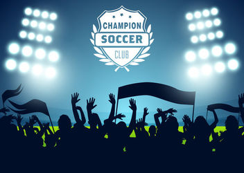 Soccer Stadium Poster Crowds Lights - Free vector #163151