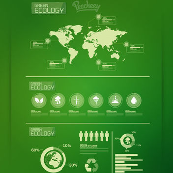 Ecology Infographic with Map Icons - vector gratuit #163161