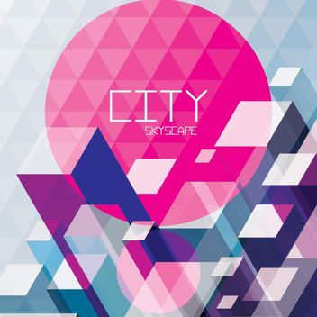 Abstract 3D Polygonal Cityscape Background - vector gratuit #163271