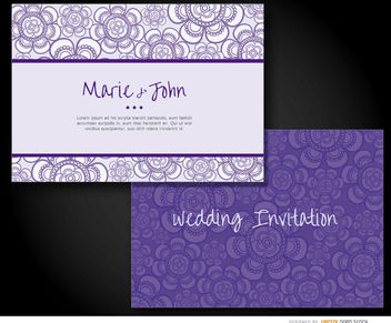 Wedding invitation sleeve purple - vector gratuit #163361