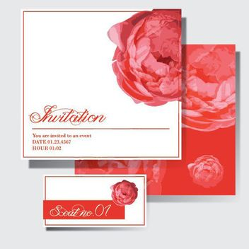 Floral Wedding Invitation Cards - vector gratuit #163471
