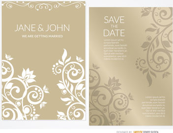 Golden floral wedding invitation sleeve - vector gratuit #163481