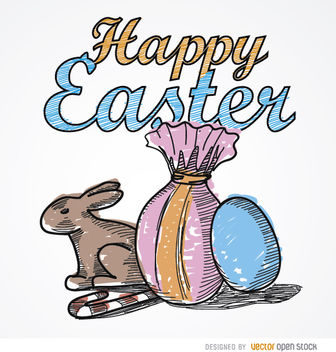 Easter drawing rabbit sweets eggs - Free vector #163491