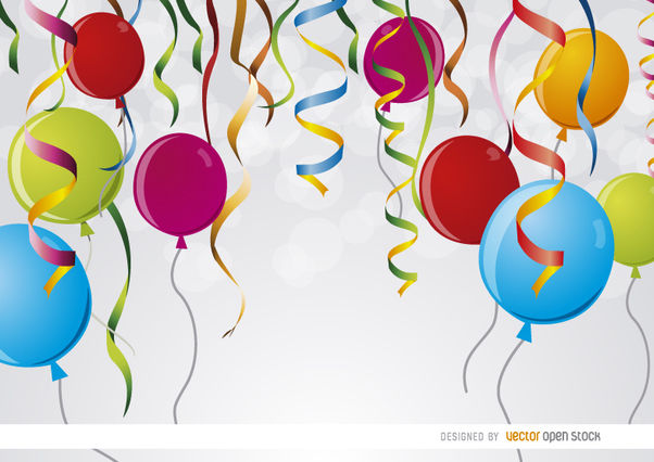 Party ribbons balloons background - Free vector #163521