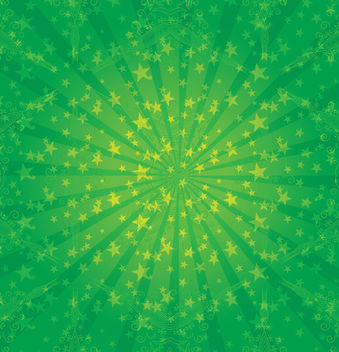 Green Sunburst with Stars & Swirls - Free vector #163531