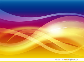 Warm waves abstract background - vector gratuit #163591