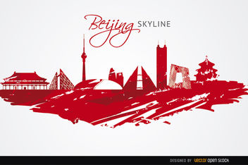 Beijing landmarks painted red - Free vector #163611