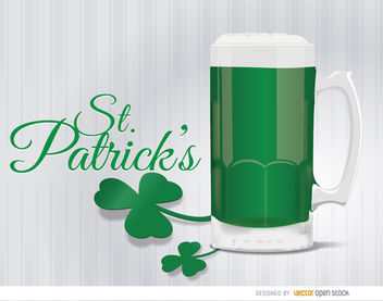St. Patrick's green beer shamrock background - бесплатный vector #163631