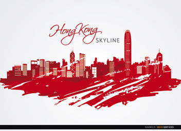 Hong Kong city buildings painted red - vector gratuit #163671