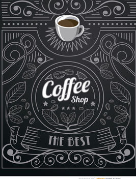 Coffee shop doodle logo with ornaments - vector gratuit #163731