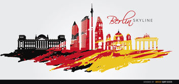 Berlin skyline flag painted background - vector gratuit #163741