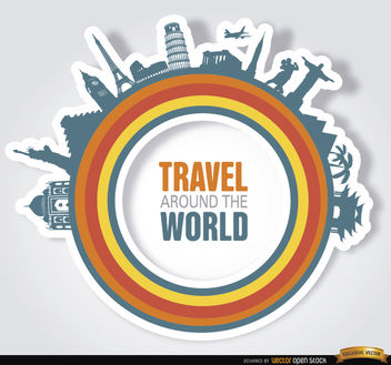 Monuments around world circle logo - vector gratuit #163821