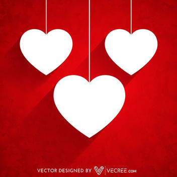 Hanging Paper Cut Hearts Grunge Background - vector gratuit #163831