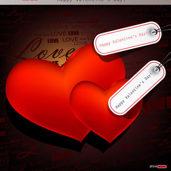 Glossy Red Hearts with Valentine Sale Tags - vector gratuit #163921