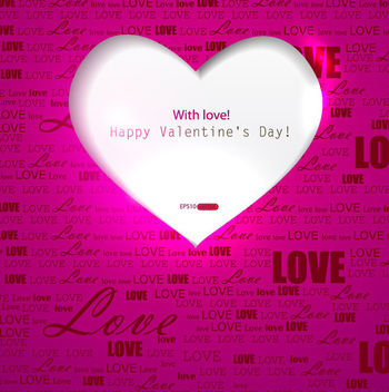 White Ripped Heart Pink Background with Love Tags - vector gratuit #163931