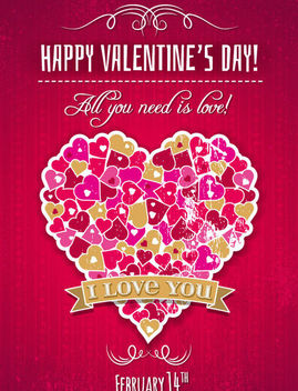 Vintage Hearts Shaped Heart Grungy Valentine Card - Free vector #163971
