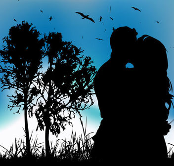 Couple Kissing Silhouette on Landscape with Tree Behind - vector gratuit #164051
