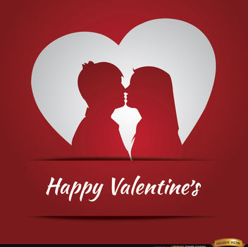 Couple love heart Valentine's card - Kostenloses vector #164061