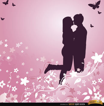 Love couple pink floral background - Free vector #164071
