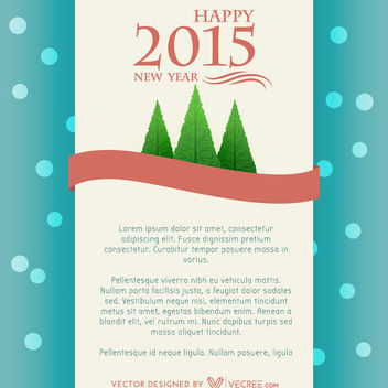 Vintage 2015 New Year Card with Xmas Trees - vector gratuit #164171
