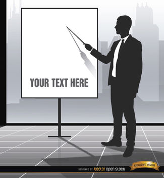 Executive pointing presentation screen - vector gratuit #164251